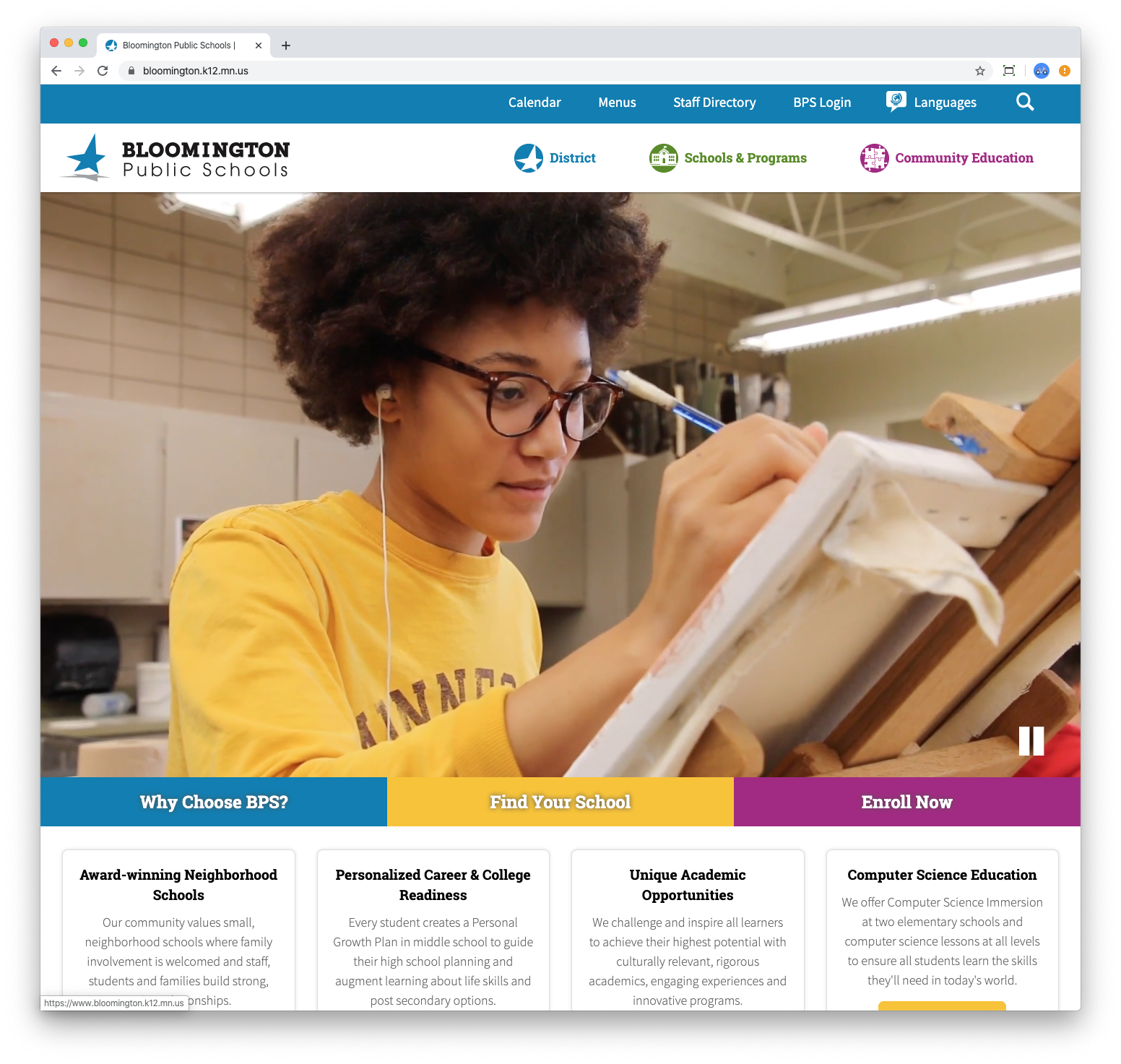 Bloomington Public Schools website