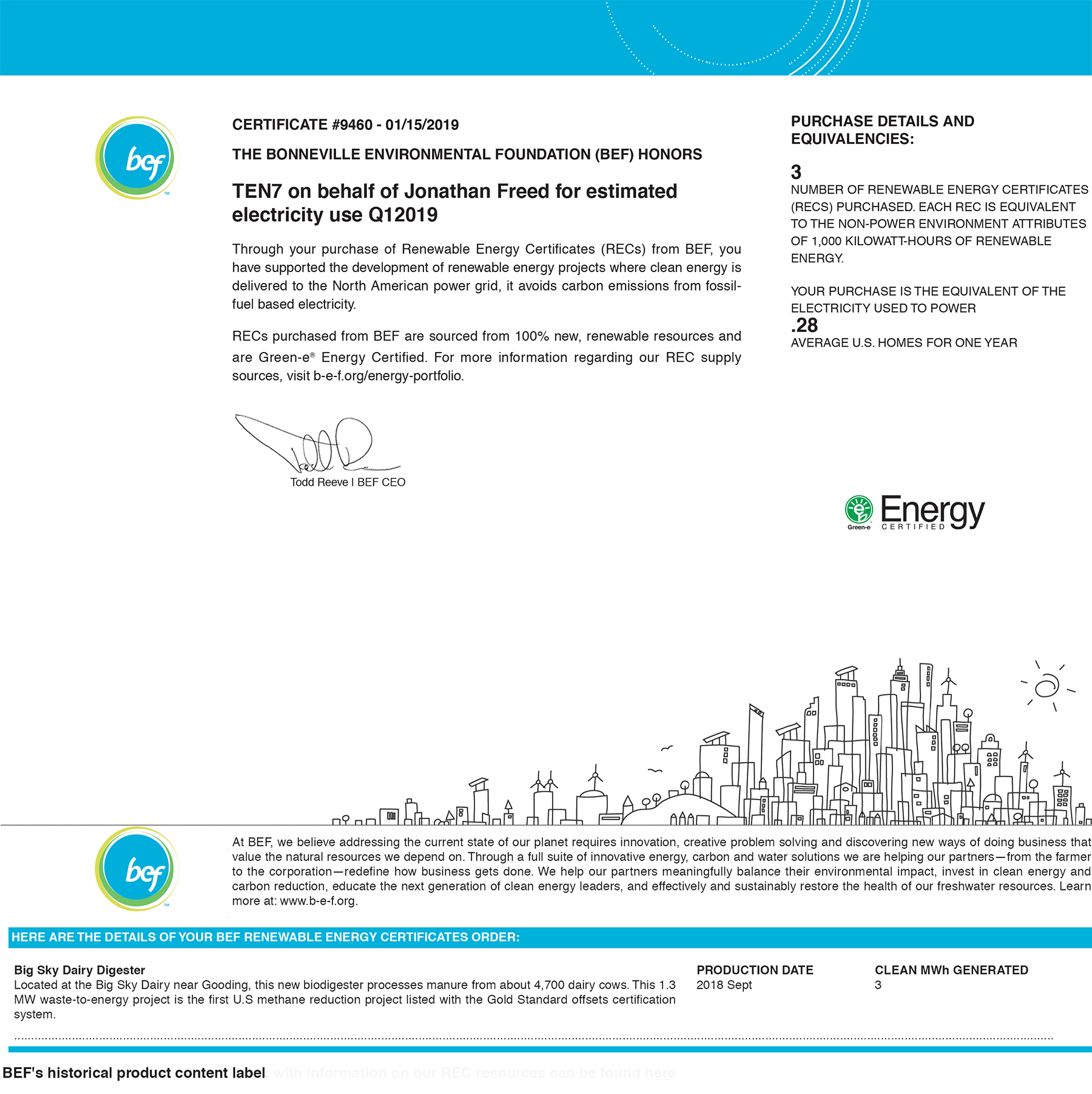 BEF Renewable Energy Certificate