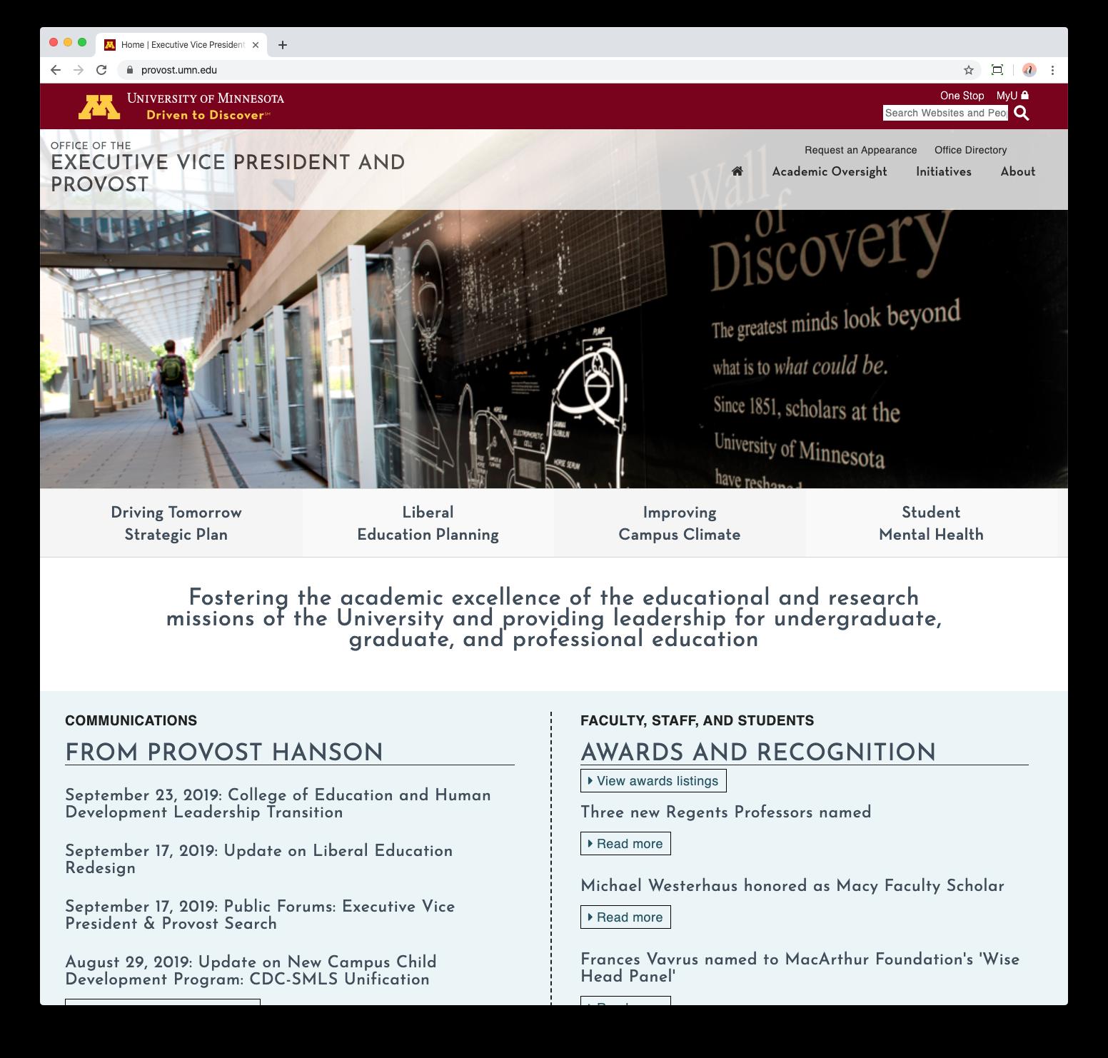 University of Minnesota Provost Website