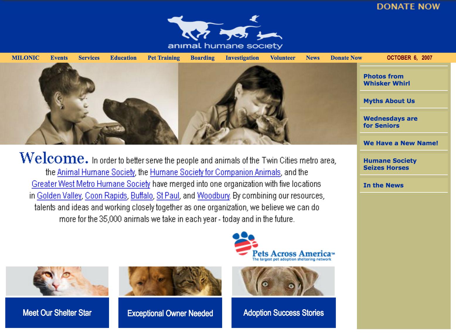 animalhumanesociety.org circa 2007