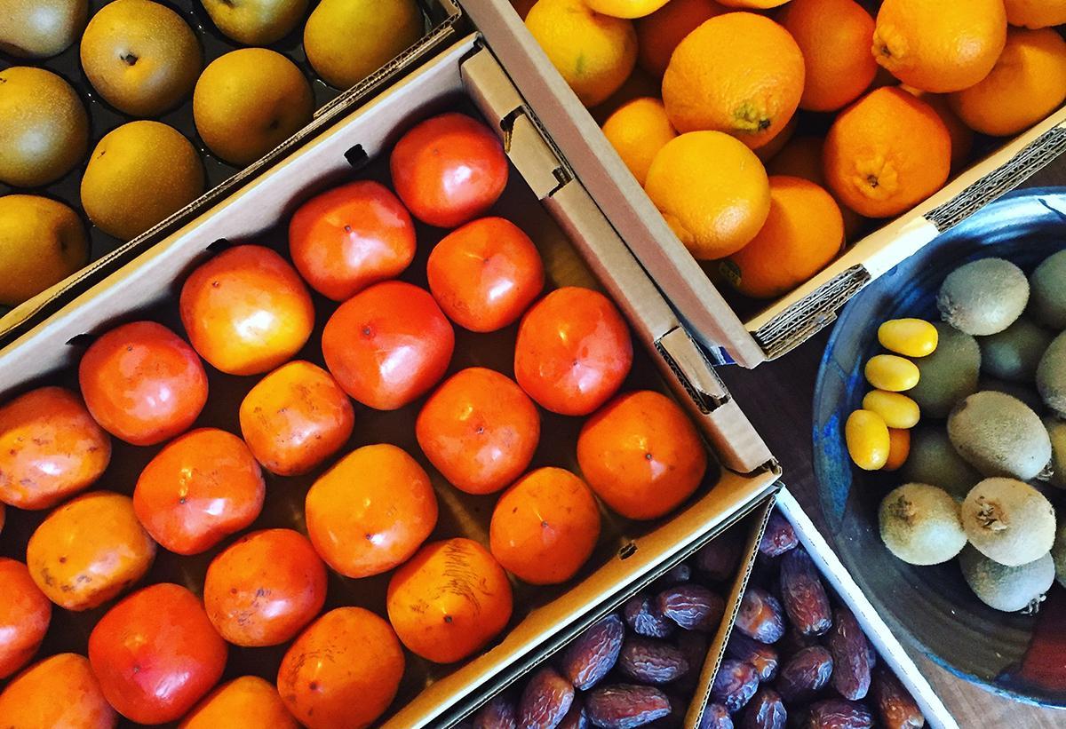asian pears, oranges, persimmons, dates, kiwi