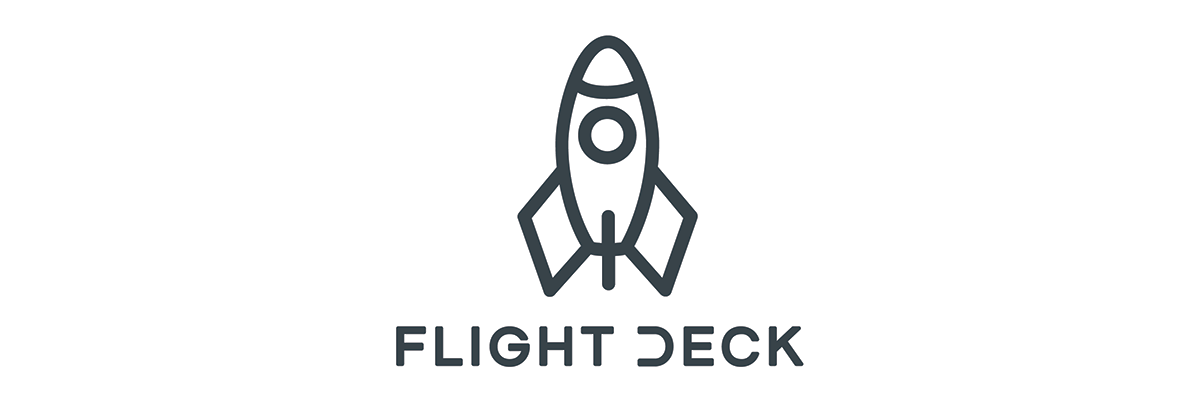 "Flight Deck Logo of Rocket on top of the words ""Flight Deck"""