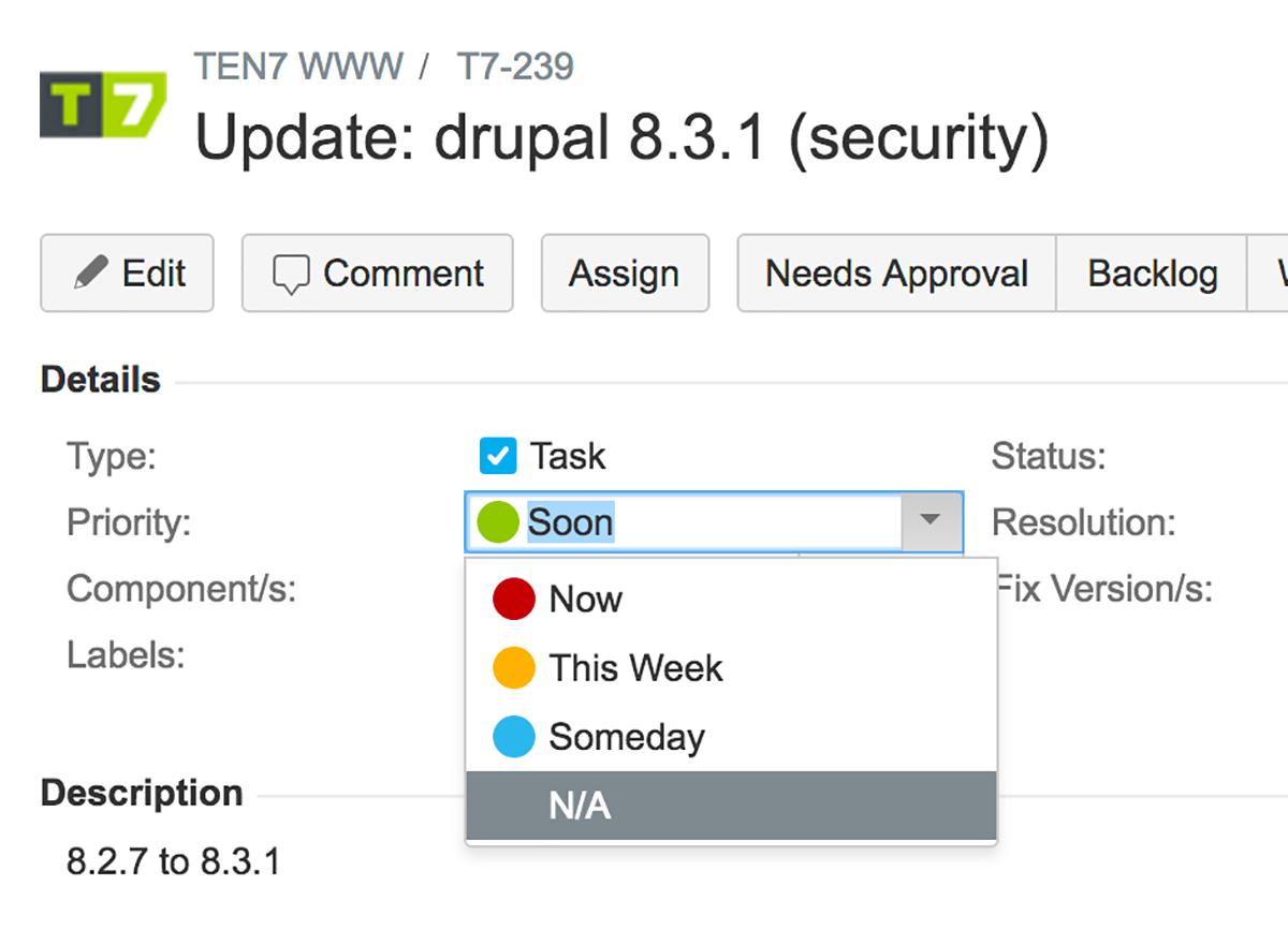 Screenshot of customized JIRA Priorities
